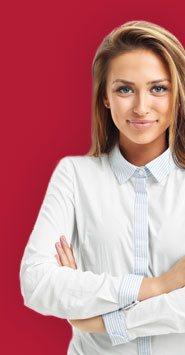 Visuel représentant une femme portant des lentilles de contact